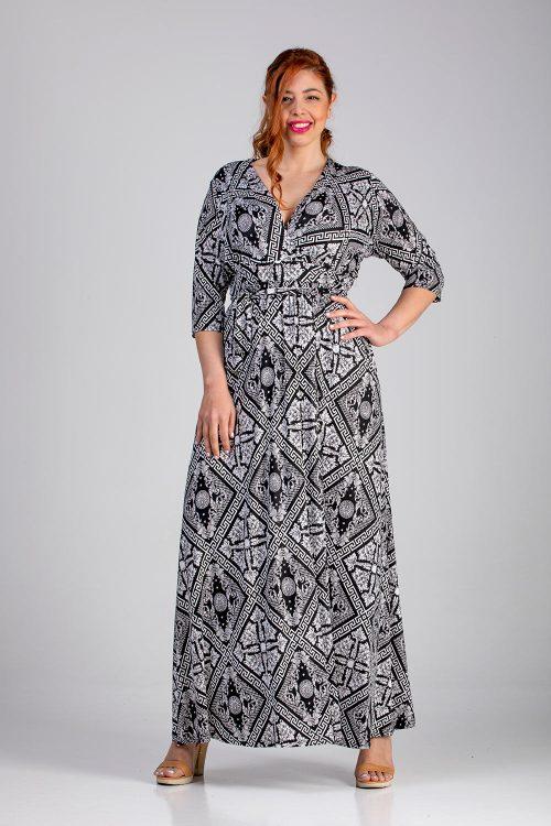 Φόρεμα κρουάζε εμπριμέ σε μεγάλα μεγέθη