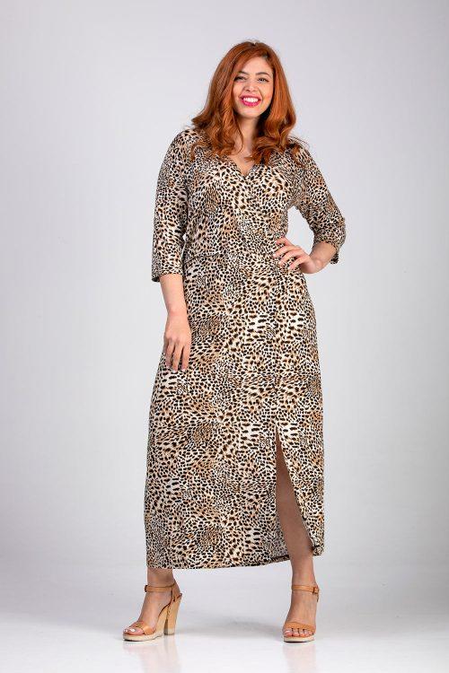 Φόρεμα-κρουάζε-animal-μεγάλα μεγέθη-plus size