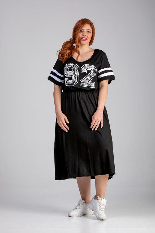 Φόρεμα midi με στάμπα σε μεγάλα μεγέθη