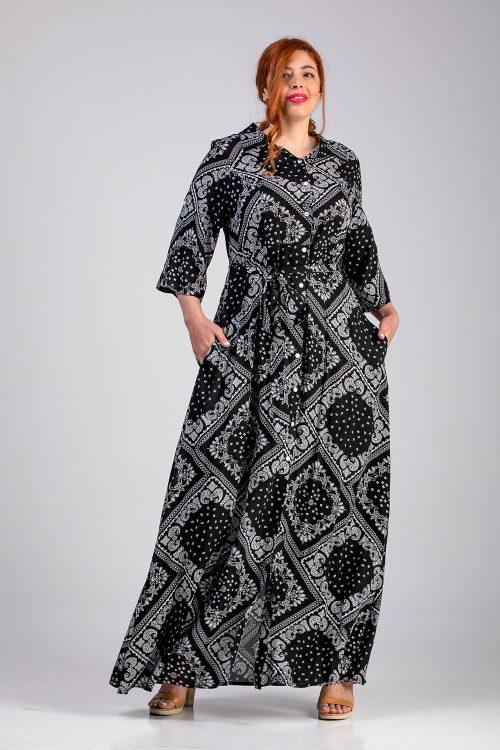 Φόρεμα σεμιζιέ εμπριμέ μαύρο σε μεγάλα μεγέθη
