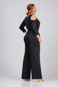 Γυναικεία ολόσωμη φόρμα πουά σε μεγάλα μεγέθη