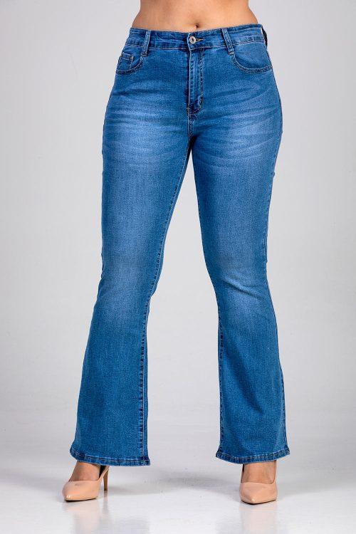 Γυναικείο παντελόνι τζίν καμπάνα σε μεγάλα μεγέθη