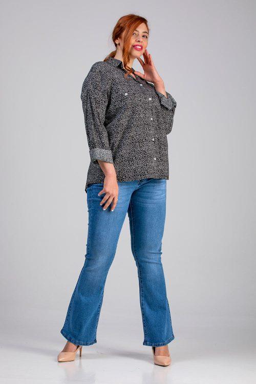 Γυναικείο πουκάμισο μαύρο εμπριμέ σε μεγάλα μεγέθη