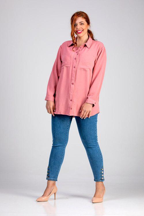 Γυναικείο πουκάμισο μονόχρωμο ροζ σε μεγάλα μεγέθη