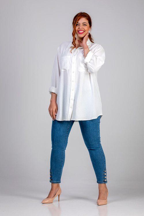 Γυναικείο πουκάμισο μονόχρωμο λευκό σε μεγάλα μεγέθη