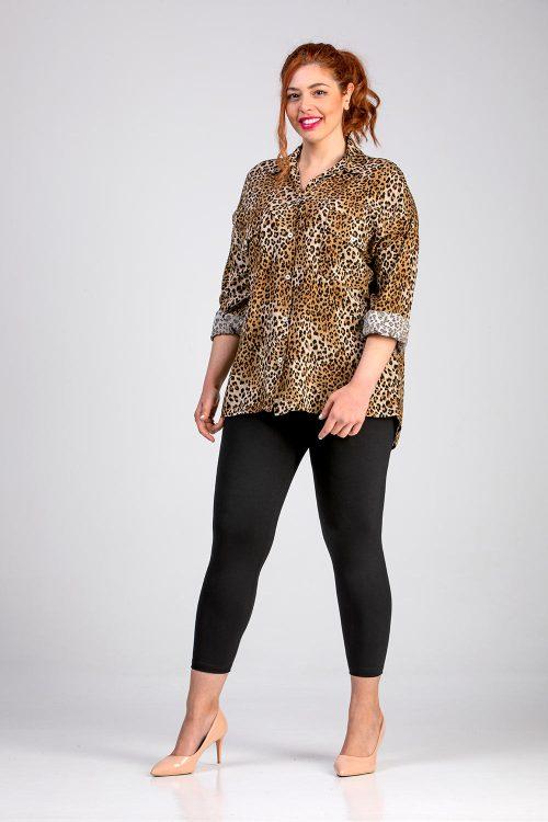 Γυναικείο πουκάμισο animal print σε μεγάλα μεγέθη