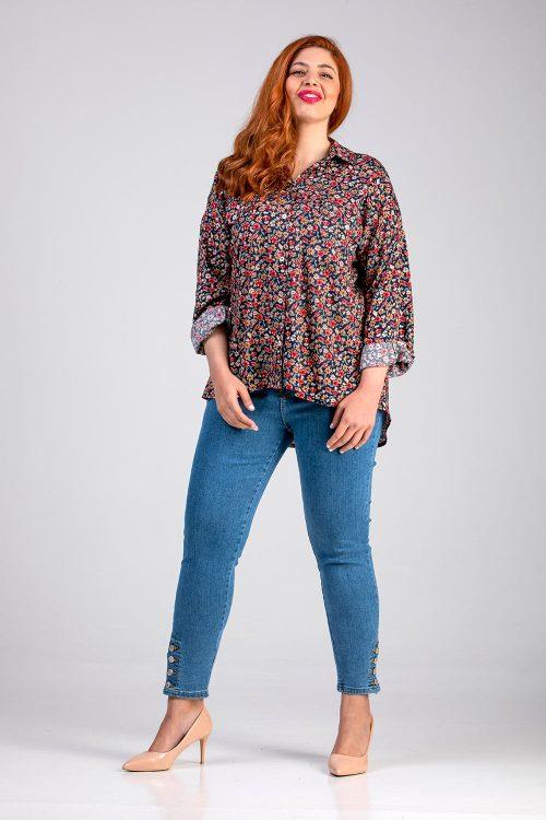 Γυναικείο πουκάμισο φλοράλ σε μεγάλα μεγέθη