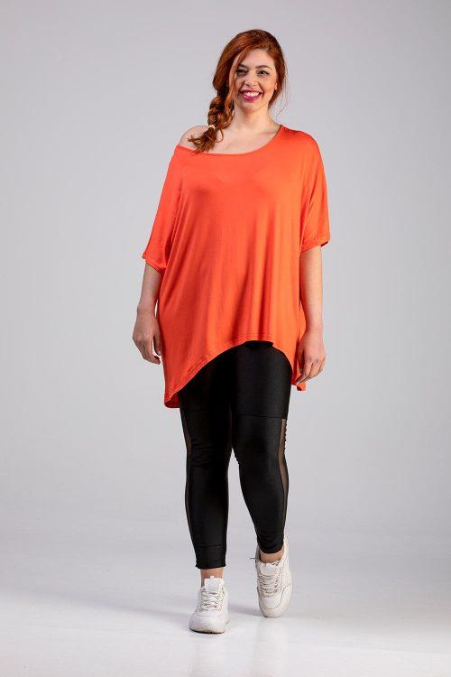 Μπλούζα μονόχρωμη πορτοκαλί σε άνετη γραμμή σε μεγάλα μεγέθη