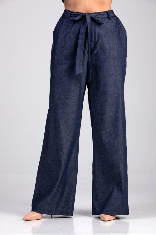 Γυναικέία παντελόνα τζιν με λάστιχο στη μέση σε μεγάλα μεγέθη